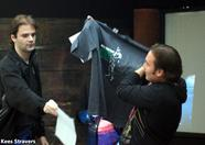Latok looking at a cool Konami T-Shirt for the next winner