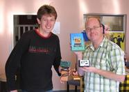 Dennis Koller and Yobi, showing the MP3 player
