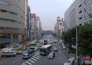 An overview of Tokyoite traffic: a bus ignoring the traffic rules.