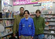 Posing with the hero who earns his living by selling MSX software.a