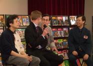 Mr. Niitani, Sander, Bernard and Mr. Yokoi doing a talkshow on Compile, Aiky, Guru Logic and MSX in Europe.