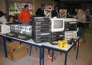 Look at that mega load of MSX machines. The monitor shows Metal Gear 2.
