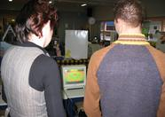 Lindsey and Ronnie playing Baseball on the Wii.