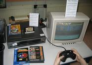 The Philips NMS 82SEGA... the signs explain that it's a Philips NMS 8250 with built in Sega Mega Drive (a custom mod by Bas).