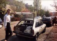 Chairman Rob of MSX Futurist picking up     MSX stuff at Bas van Ritbergen's house