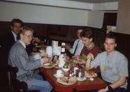 The MSX Futurist crew at breakfast. From left to right: Rob, and indeed  Sander van Nunen (wow: this is 14 years ago!), Ed, Edwin and Terrence.