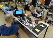 Sander and Tjeerd trying out various MIDI devices with the MIDI PAC